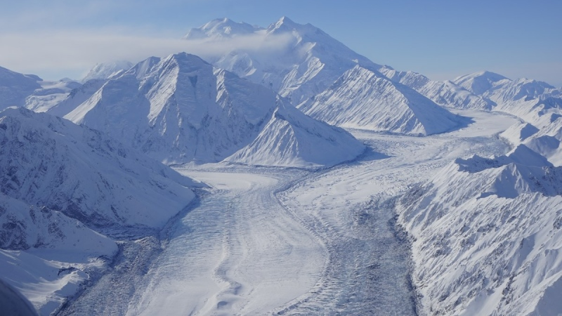 Photograph of the upper part of the Muldrow Glacier, with Denali in the background. Tributaries of the Muldrow Glacier, the Traleika and Brooks Glaciers, are seen feeding into the main trunk in the center of the photograph. The edges of the glacier in the foreground display particularly heavy crevassing. (NPS Photo)