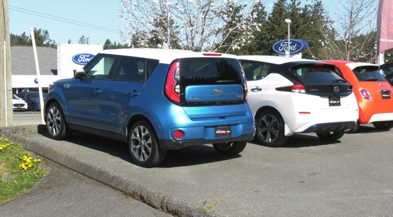 Used cars sit on the lot of Motorize Electric Vehicles located at 1671 Island Hwy. (CTV)