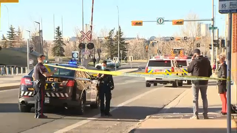 A man is in life-threatening condition after an early evening stabbing in downtown Calgary