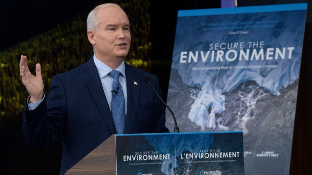 Leader of the Opposition Erin O'Toole gestures as he speaks during a climate change announcement during an event in Ottawa, Thursday April 15, 2021. THE CANADIAN PRESS/Adrian Wyld