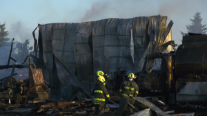 Images from the fire at Stettler's Five Star Ventures Waste Management facility (CTV News/Nav Sangha).