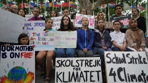 In 2019 activists including Greta Thunberg were able to protest at the United Nations in person. (AFP)