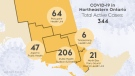 The number of active cases of COVID-19 in northeastern Ontario as of April 16/21 at 9 a.m. (CTV Northern Ontario)