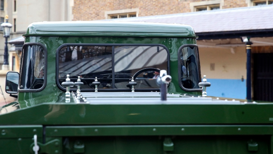 A closeup view of the Jaguar Land Rover that will be used to transport the coffin of the Duke of Edinburgh. (Steve Parsons / Pool Photo via AP)