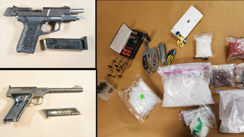 Items including drugs and guns seized by London Police on Thursday, April 15, 2021. (LPS)