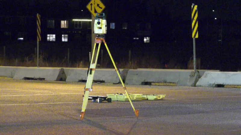 A longboarder suffered a broken leg when he was hit in a marked crosswalk at 199 Street and Lessard Road on April 15, 2021.