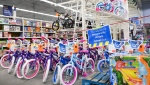 A man shops for essential items only at Walmart as the company was forced to block off aisles and sections that have been deemed non-essential during the COVID-19 pandemic in Mississauga, Ont., on Thursday, April 8, 2021. THE CANADIAN PRESS/Nathan Denette