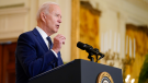U.S. President Joe Biden speaks about Russia in the East Room of the White House, Thursday, April 15, 2021, in Washington. (AP Photo/Andrew Harnik)