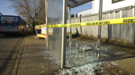 A bus shelter was smashed in a crash at 91 Street and 168 Avenue on April 16, 2021.