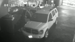 A still image from surveillance camera video shows a white SUV believed to be connected to the murder of 30-year-old Manoj Kumar on April 16, 2019.