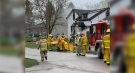 Crews work at the scene of a house fire in Londesborough, Ont. on Friday, April 16, 2021. (Source: Andrea Hulley)