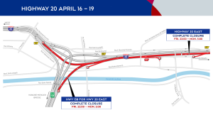 Highway 20 closures from April 16 to April 19, 2021.