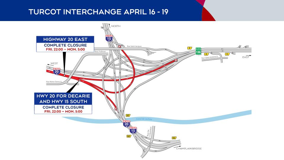 Turcot Interchange closures April 16 to 19