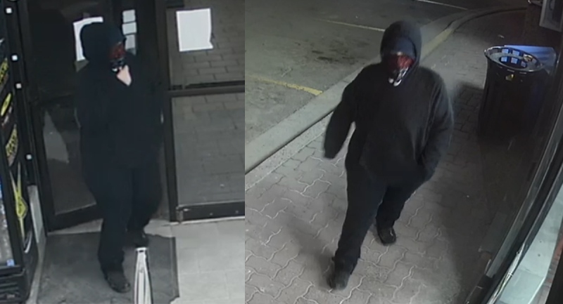 London police released these images of a suspect sought in a robbery on Thursday, April 15, 2021.