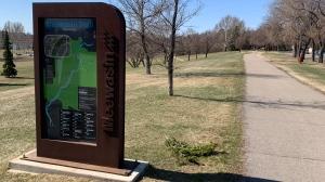 A sign for Saskatoon's Meewasin Trail is pictured on Apr. 16, 2021. (Dan Shingoose/CTV Saskatoon)