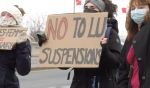 It was a passionate crowd who gathered along Paris Street on Friday morning to send a message to the president of Laurentian University, the Ontario premier and the Minister of Colleges and Universities. (Ian Campbell/CTV News)