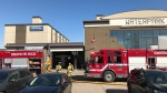 Officials on scene at the Travelodge on Stony Plain Road and 185 Street on April 16, 2021, said the blaze originated in a second-floor suite.