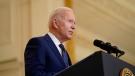 President Joe Biden speaks in the East Room of the White House, in Washington, Thursday, April 15, 2021. (AP Photo/Andrew Harnik)