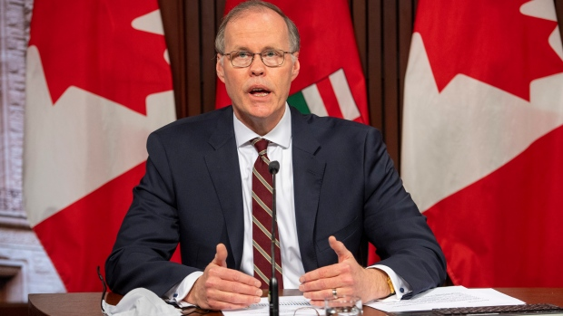 Adalsteinn Brown, co-chair of Ontario's COVID-19 science advisory table, delivers updated projections at Queen's Park in Toronto on Friday, April 16, 2021.THE CANADIAN PRESS/Frank Gunn