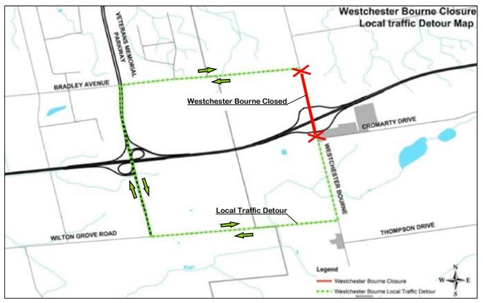 Hwy. 401 closure map at Westchester Bourne for the week of April 19, 2021. (MTO)