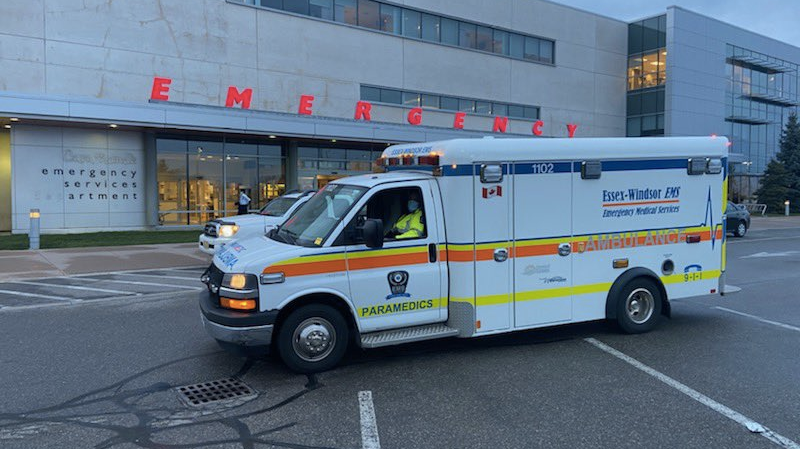 Essex-Windsor EMS transferred two patients from Toronto to hospitals in Windsor, Ont. on Thursday, April 15, 2021. (courtesy Bruce Krauter)