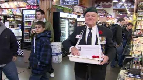 "Kitsilano's ""poppy man"" Bert Marrett raised more than $9,000 last year -- but this year, things are looking down. Nov. 8, 2009. (CTV)"