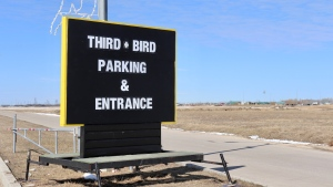 The entrance to the Third + Bird market in Winnipeg. (Photo by Daniel Halmarson)