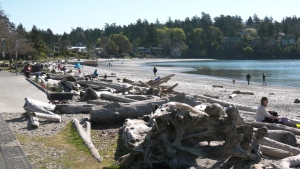 Islanders are seen soaking up the sunshine at Cadboro Bay in Saanich during an unseasonably warm spring day: April 16, 2021 (CTV News)