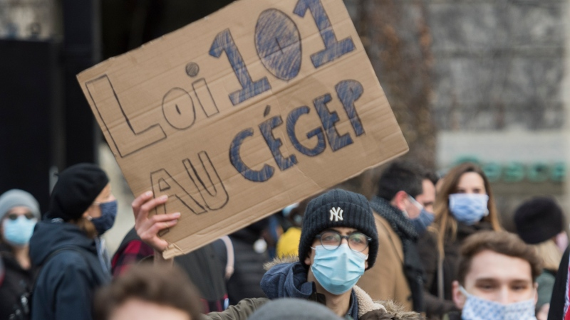 People take part in a demonstration in Montreal, Saturday, November 28, 2020, where they protested against government funding for infrastructure projects at two English-language educational institutions and also calling on the city of Montreal to set up a body to protect the French language. The COVID-19 pandemic continues in Canada and around the world.THE CANADIAN PRESS/Graham Hughes
