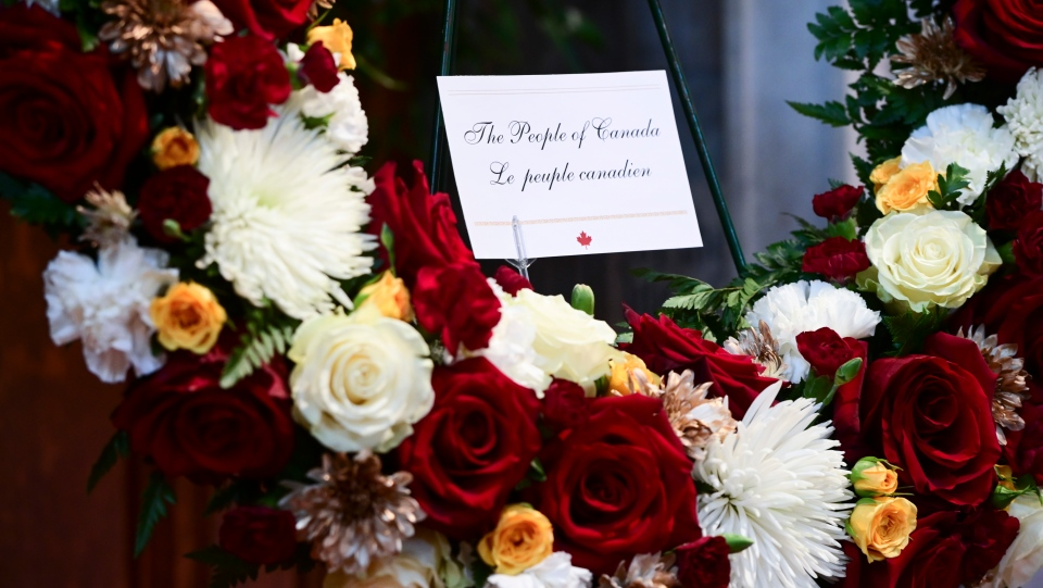 A wreath on behalf of the people of Canada is pictured prior to the start of the National Commemorative