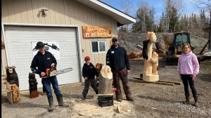 Yves Willard has been carving many subjects for six years now. He also gets a helping hand from his wife and sons, making YNM Wood Carving a family affair. April 17/21 (Alana Everson/CTV News Northern Ontario)