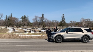 Police on scene at Fort Garry Cemetery, April 17 (Source: Gary Robson, CTV News