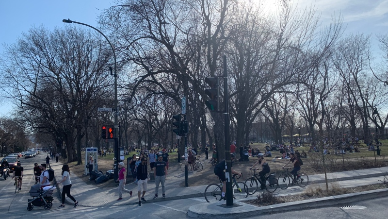 Laurier Park has been packed during the COVID-19 third wave, as Montrealers take advantage of the warm weather to beat the pandemic fatigue. (Daniel J. Rowe/CTV News)
