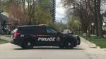 Brantford police on scene of a shooting incident. (Johnny Mazza/CTV Kitchener) (Apr. 17, 2021)