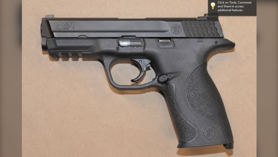 Sudbury police searched the vehicle used in a home invasion where they located a handgun and airsoft pistol. (Supplied) 1/2