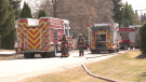 The Saskatoon Fire Department responds to a single detached garage fire in the 1500 block of Lancaster Boulevard on April 17, 2021 (Miriam Valdes-Carletti/CTV Saskatoon).