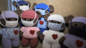 Knitting COVID bears for others
