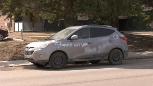 A vehicle was vandalized with racial slurs in Saskatoon's College Park neighbourhood.