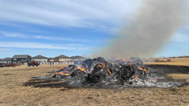 150 hay bales were lit on fire by two youths on Saturday, RCMP say (Supplied/RCMP).