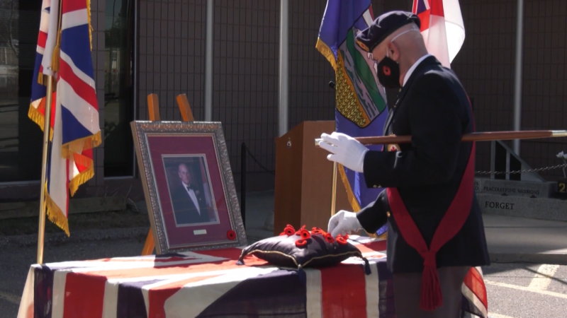 A local branch of the Royal Canadian Legion held a service for Prince Philip Saturday. Saturday April 17, 2021 (CTV News Calgary)