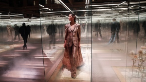 In this Jan. 27, 2021 file photo, a model wears a creation for Fendi's Spring-Summer 2021 Haute Couture fashion collection presented in Paris. (AP Photo/Francois Mori, File)