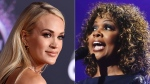 Carrie Underwood appears at the American Music Awards in Los Angeles on Nov. 24, 2019, left, and CeCe Winans performs during the Dove Awards in Nashville, Tenn. on Oct. 15, 2019. Underwood will sing with gospel legend CeCe Winans on Sunday's Academy of Country Music Awards. (AP Photo)