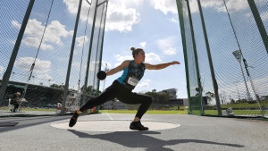 Dani Stevens competes in the women's discus at the Australian Track and Field Championships in Sydney, Sunday, April 18, 2021. Former world champion Stevens has been selected to the Australian team for her fourth Olympics less than a year after fearing she'd miss the Tokyo Games because of a career-threatening neck injury. (Dean Lewins/AAP Image via AP)