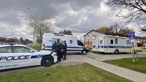 Homicide detectives are investigating after a body was found inside a Mississauga residence Sunday morning. (CTV News Toronto/Ken Enlow)
