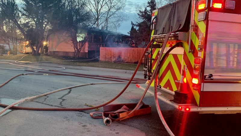 The Saskatoon Fire Department battled a fire at a home on Leland Place Saturday night. (Ryan Fletcher/CTV Saskatoon)
