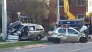 The damage following a crash on Victoria Street South in Kitchener. (Adam Marsh/CTV Kitchener) (Apr. 18, 2021)