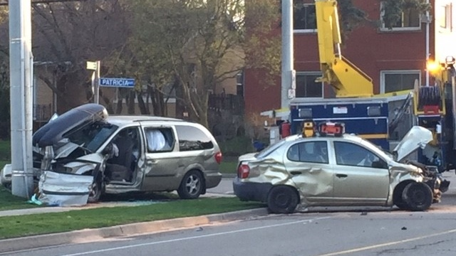 The damage following a crash on Victoria Street South in Kitchener. (Adam Marsh/CTV Kitchener) (Apr. 18, 2021)