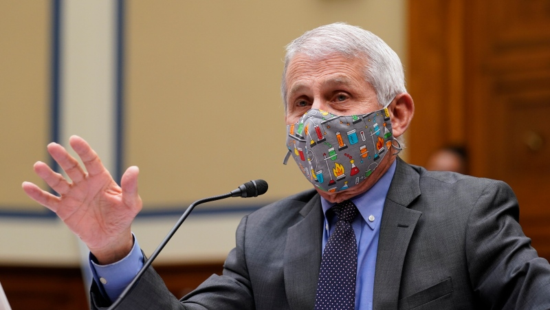 Dr. Anthony Fauci, the U.S.'s top infectious disease expert, responds to a question during a House Select Subcommittee hearing on Capitol Hill in Washington, Thursday, April 15, 2021, on the coronavirus crisis. (AP Photo/Susan Walsh, Pool)
