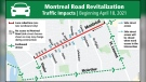 Montreal Road will be reduced to a single westbound lane until late 2022 for major construction as part of the Montreal Road Revitalization Project. Drivers will be required to detour around the area. (Image via City of Ottawa)