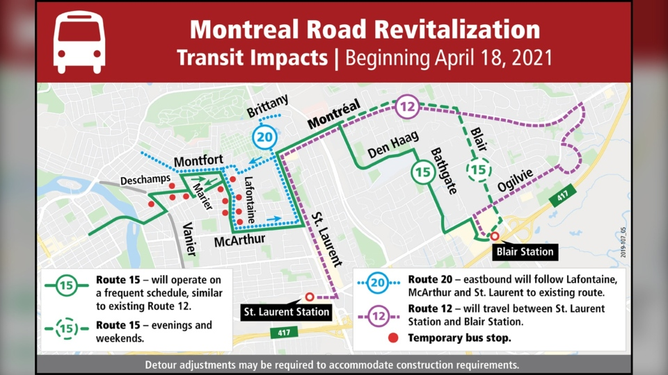 OC Transpo routes 12, 15, and 20 will be detoured around construction on Montreal Road as of April 18, 2021. (Image via City of Ottawa)
